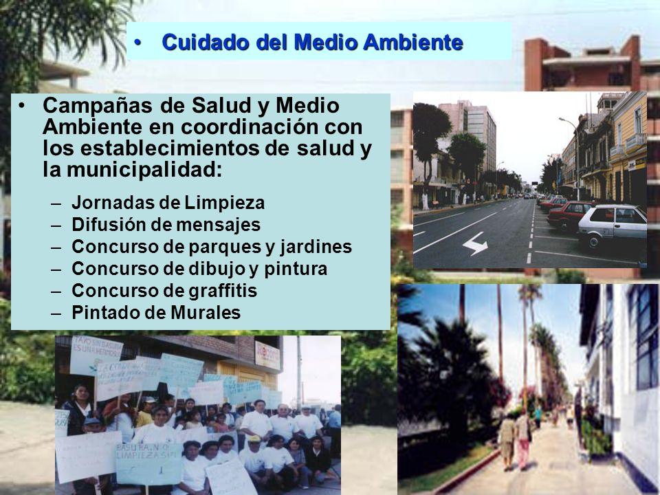 Cuidado del Medio AmbienteCuidado del Medio Ambiente Campañas de Salud y Medio Ambiente en coordinación con los establecimientos de salud y la municip