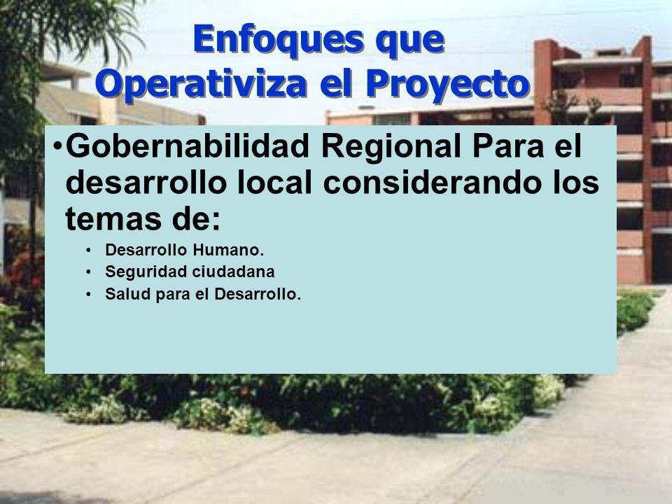 Enfoques que Operativiza el Proyecto Gobernabilidad Regional Para el desarrollo local considerando los temas de: Desarrollo Humano. Seguridad ciudadan