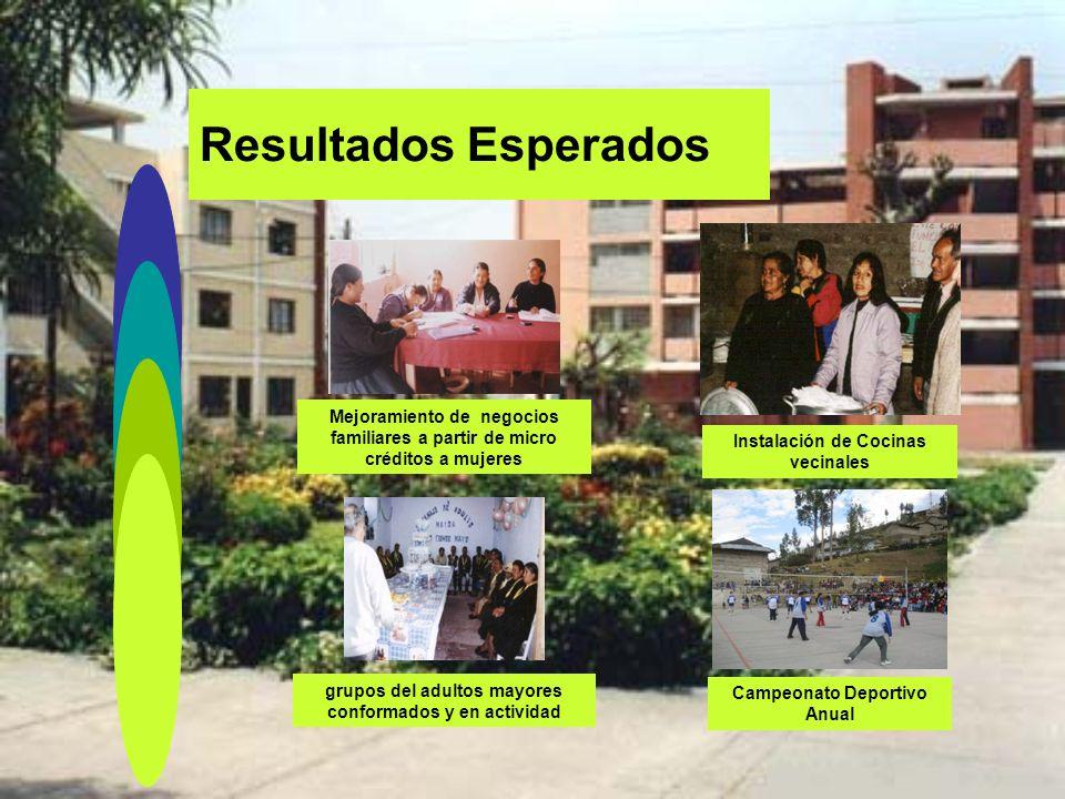 Resultados Esperados Formación de Taller Infantil de Música vecinal Consultorio Médico Comunales o vecinales Mejoramiento de viviendas