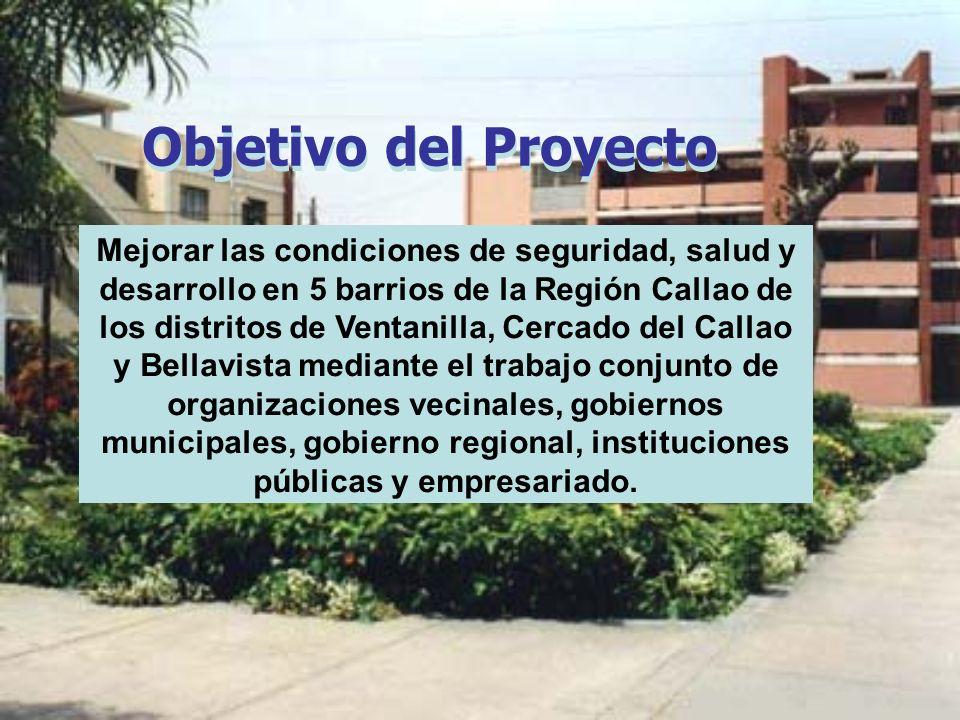 Objetivo del Proyecto Mejorar las condiciones de seguridad, salud y desarrollo en 5 barrios de la Región Callao de los distritos de Ventanilla, Cercad