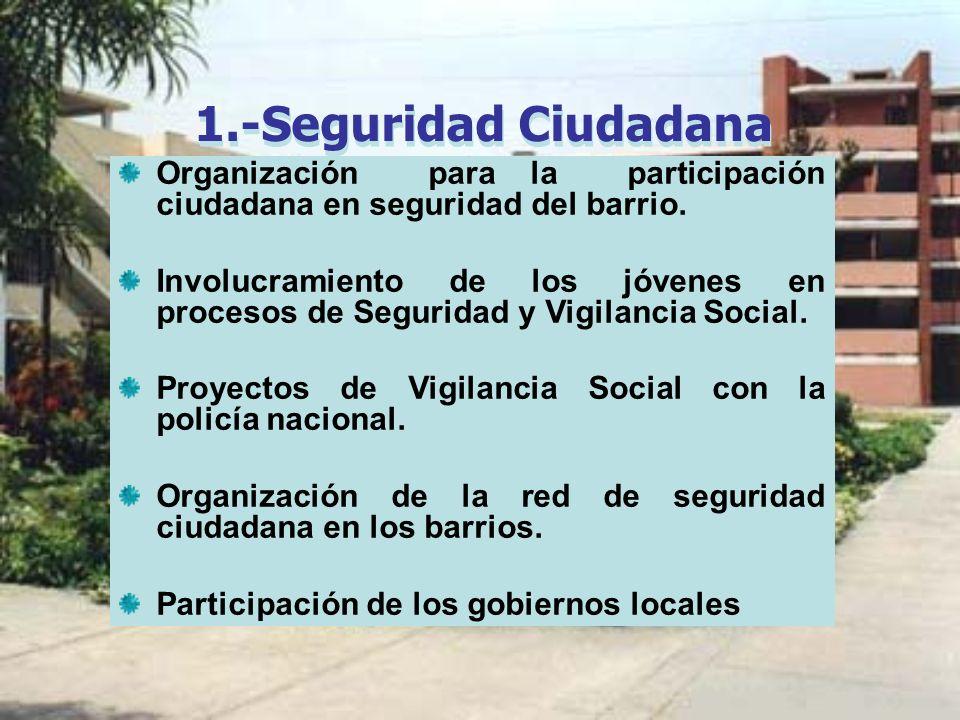 1.-Seguridad Ciudadana Organización para la participación ciudadana en seguridad del barrio. Involucramiento de los jóvenes en procesos de Seguridad y