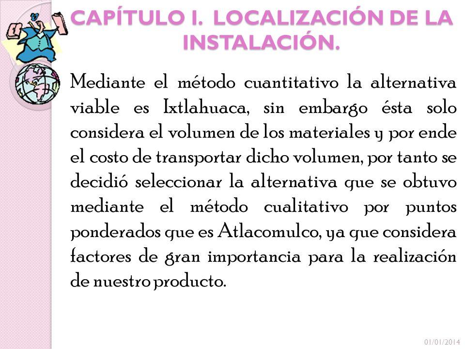 CAPÍTULO I. LOCALIZACIÓN DE LA INSTALACIÓN. Mediante el método cuantitativo la alternativa viable es Ixtlahuaca, sin embargo ésta solo considera el vo