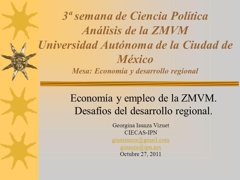 3ª semana de Ciencia Política Análisis de la ZMVM Universidad Autónoma de la Ciudad de México Mesa: Economía y desarrollo regional Economía y empleo d