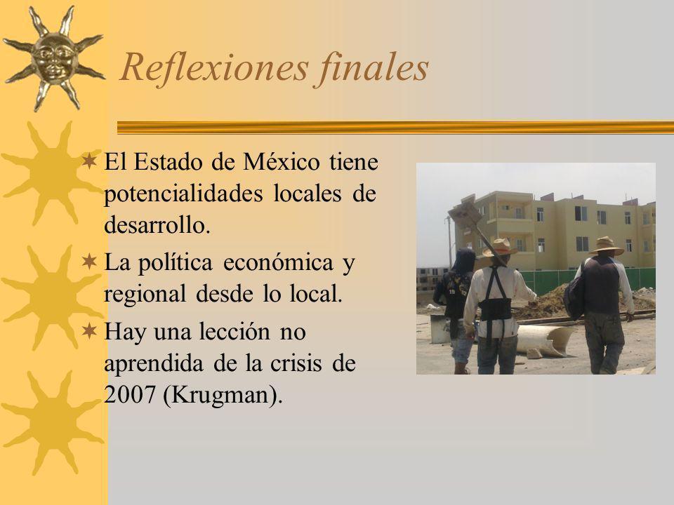 Reflexiones finales El Estado de México tiene potencialidades locales de desarrollo. La política económica y regional desde lo local. Hay una lección