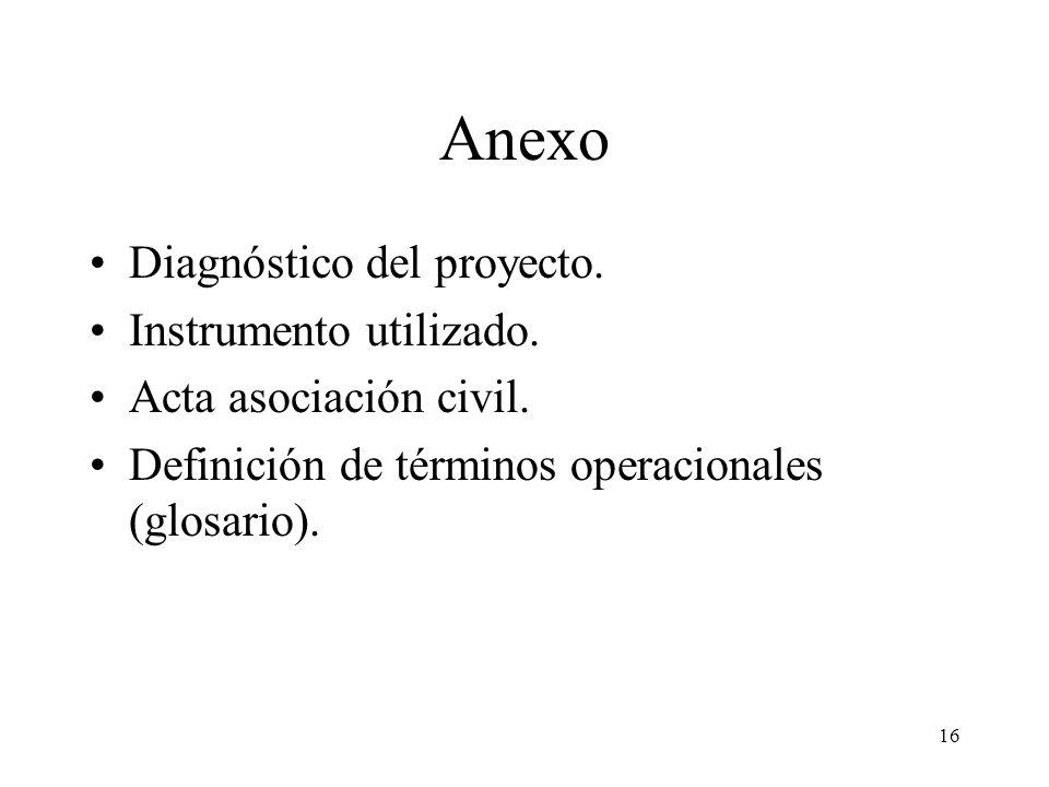 Anexo Diagnóstico del proyecto. Instrumento utilizado. Acta asociación civil. Definición de términos operacionales (glosario). 16