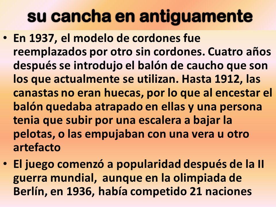 En 1937, el modelo de cordones fue reemplazados por otro sin cordones. Cuatro años después se introdujo el balón de caucho que son los que actualmente