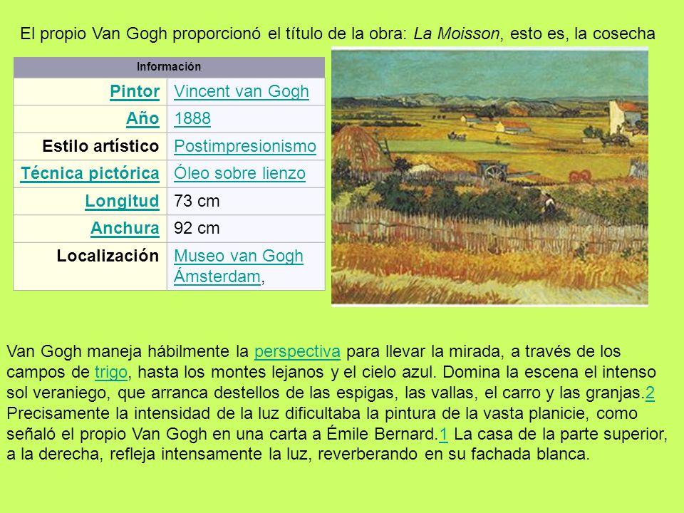 Información PintorVincent van Gogh Año1888 Estilo artísticoPostimpresionismo Técnica pictóricaÓleo sobre lienzo Longitud73 cm Anchura92 cm Localizació