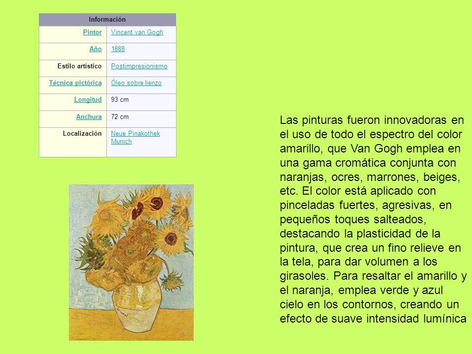 Información PintorVincent van Gogh Año1888 Estilo artísticoPostimpresionismo Técnica pictóricaÓleo sobre lienzo Longitud93 cm Anchura72 cm Localizació