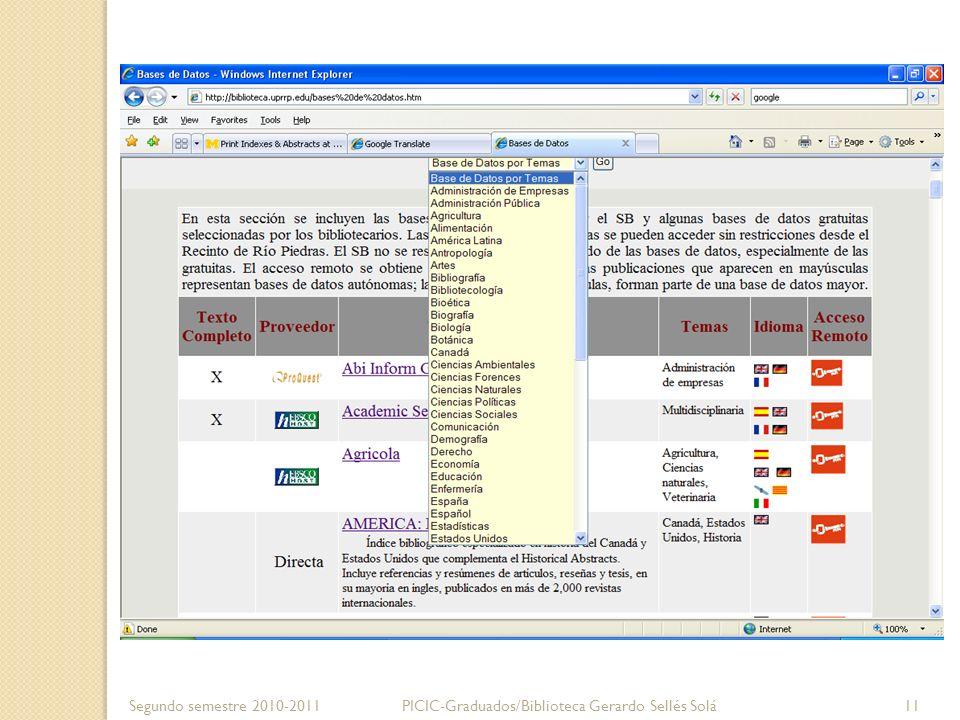 Segundo semestre 2010-2011PICIC-Graduados/Biblioteca Gerardo Sellés Solá 11