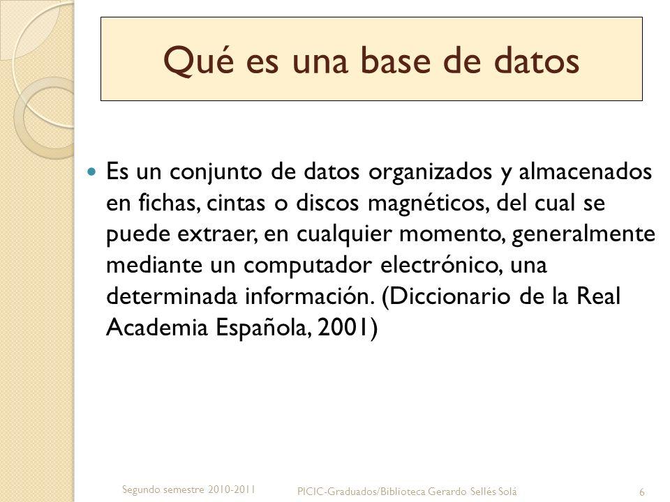 Qué es una base de datos Es un conjunto de datos organizados y almacenados en fichas, cintas o discos magnéticos, del cual se puede extraer, en cualqu