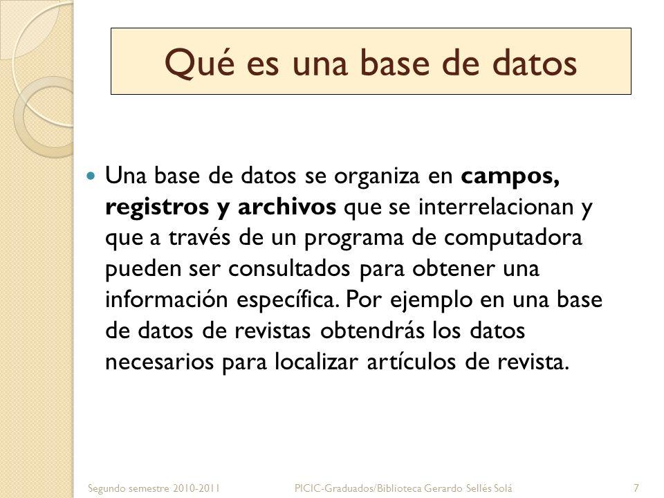 Qué es una base de datos Una base de datos se organiza en campos, registros y archivos que se interrelacionan y que a través de un programa de computa
