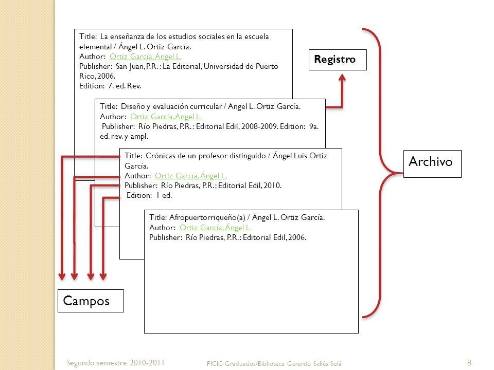 Segundo semestre 2010-2011 PICIC-Graduados/Biblioteca Gerardo Sellés Solá 8 Title: La enseñanza de los estudios sociales en la escuela elemental / Áng