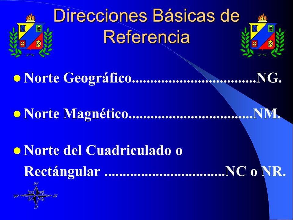 Norte Geográfico..................................NG. Norte Magnético..................................NM. Norte del Cuadriculado o Rectángular.......