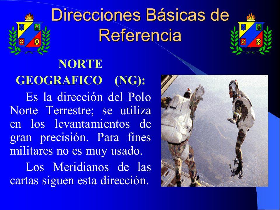 NORTE GEOGRAFICO (NG): Es la dirección del Polo Norte Terrestre; se utiliza en los levantamientos de gran precisión. Para fines militares no es muy us