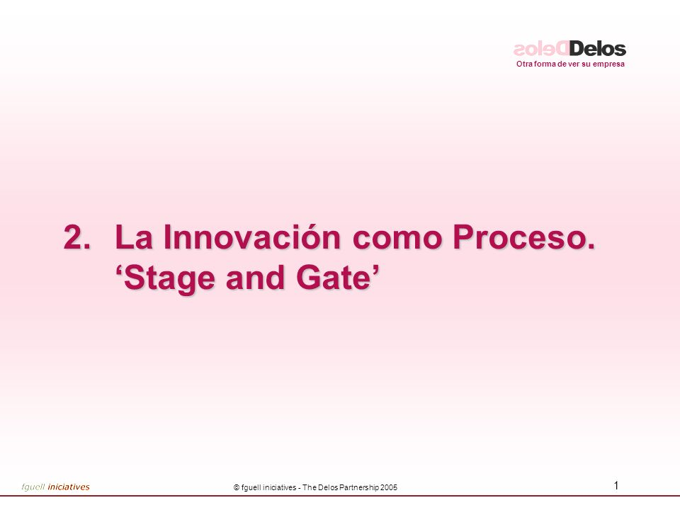 Otra forma de ver su empresa © fguell iniciatives - The Delos Partnership 2005 42 INFORME GATE 5