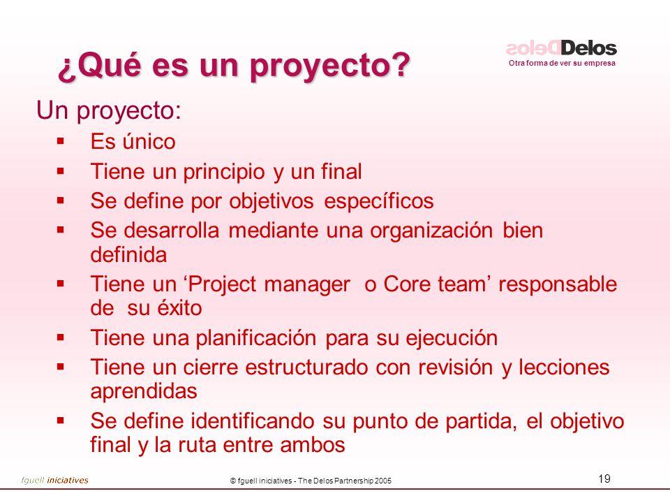 Otra forma de ver su empresa © fguell iniciatives - The Delos Partnership 2005 19 ¿Qué es un proyecto? Un proyecto: Es único Tiene un principio y un f