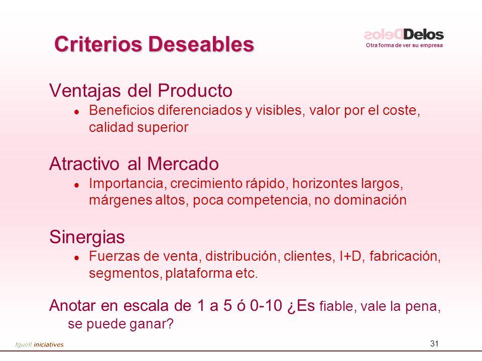 Otra forma de ver su empresa 31 Criterios Deseables Ventajas del Producto l Beneficios diferenciados y visibles, valor por el coste, calidad superior