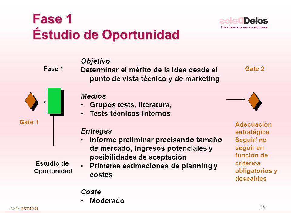 Otra forma de ver su empresa 34 Fase 1 Éstudio de Oportunidad Adecuación estratégica Seguir/ no seguir en función de criterios obligatorios y deseable
