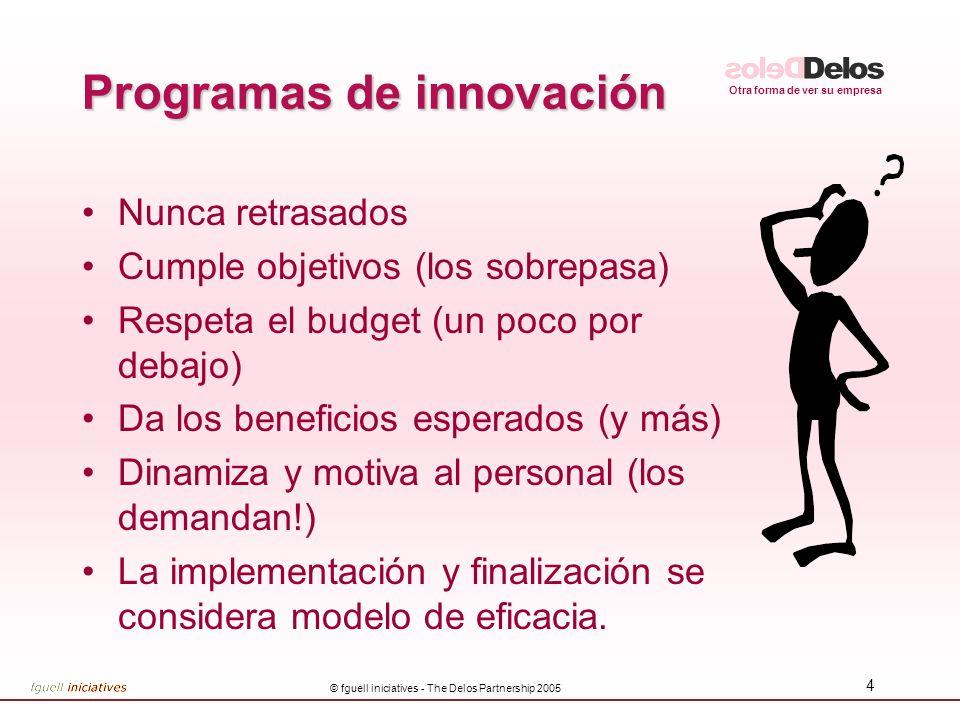 Otra forma de ver su empresa © fguell iniciatives - The Delos Partnership 2005 4 Programas de innovación Nunca retrasados Cumple objetivos (los sobrep