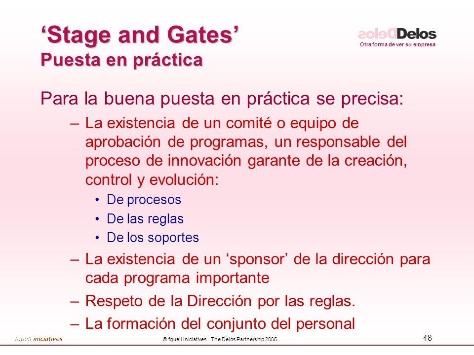 Otra forma de ver su empresa © fguell iniciatives - The Delos Partnership 2005 48 Stage and Gates Puesta en práctica Para la buena puesta en práctica