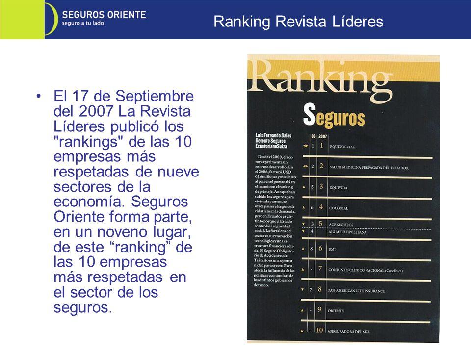 El 17 de Septiembre del 2007 La Revista Líderes publicó los