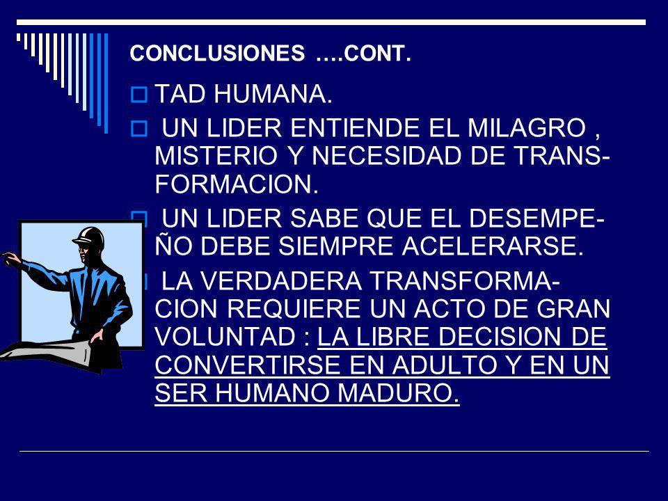 CONCLUSIONES ….CONT. TAD HUMANA. UN LIDER ENTIENDE EL MILAGRO, MISTERIO Y NECESIDAD DE TRANS- FORMACION. UN LIDER SABE QUE EL DESEMPE- ÑO DEBE SIEMPRE