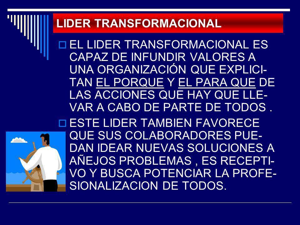 LIDER TRANSFORMACIONAL EL LIDER TRANSFORMACIONAL ES CAPAZ DE INFUNDIR VALORES A UNA ORGANIZACIÓN QUE EXPLICI- TAN EL PORQUE Y EL PARA QUE DE LAS ACCIO