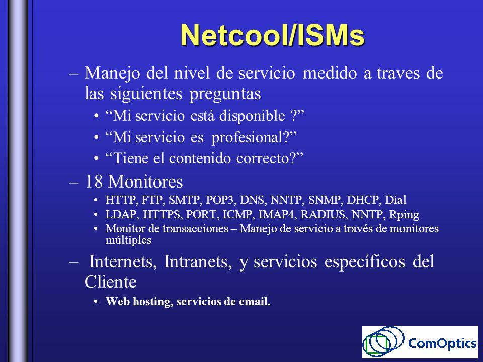 Netcool/ISMs –Manejo del nivel de servicio medido a traves de las siguientes preguntas Mi servicio está disponible ? Mi servicio es profesional? Tiene