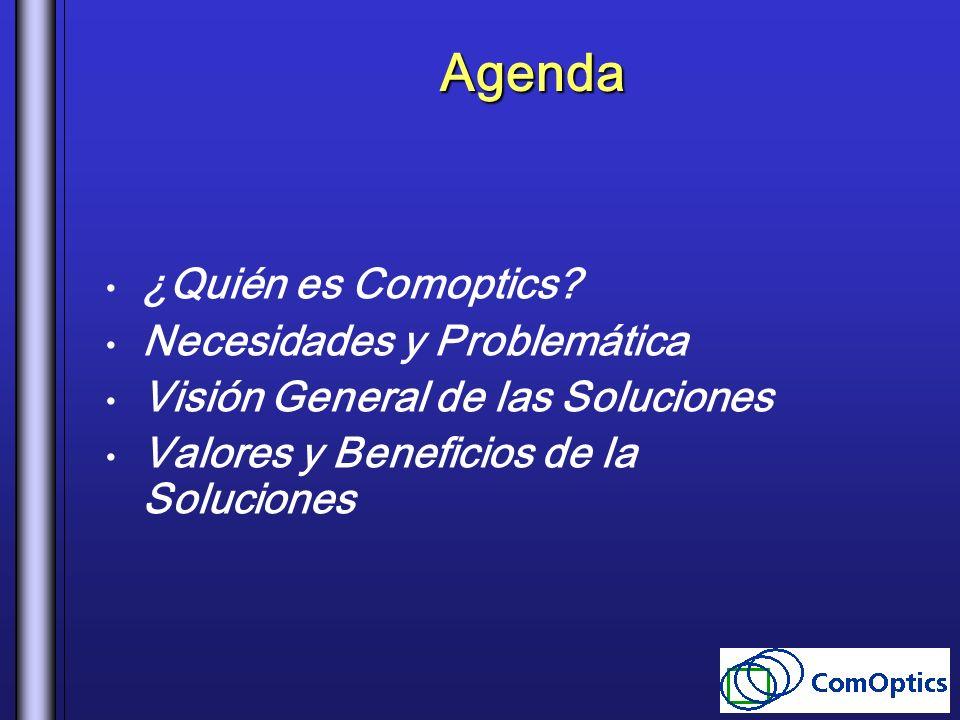 Agenda ¿Quién es Comoptics? Necesidades y Problemática Visión General de las Soluciones Valores y Beneficios de la Soluciones