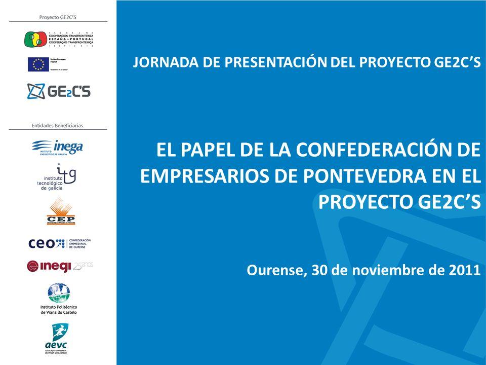 JORNADA DE PRESENTACIÓN DEL PROYECTO GE2CS EL PAPEL DE LA CONFEDERACIÓN DE EMPRESARIOS DE PONTEVEDRA EN EL PROYECTO GE2CS Ourense, 30 de noviembre de