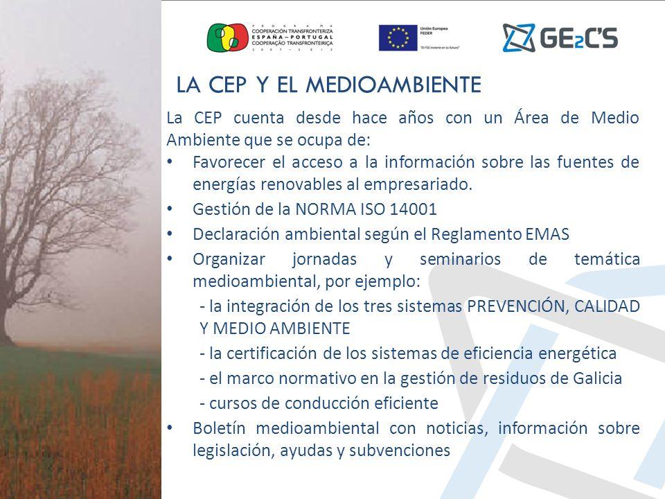La CEP cuenta desde hace años con un Área de Medio Ambiente que se ocupa de: Favorecer el acceso a la información sobre las fuentes de energías renova