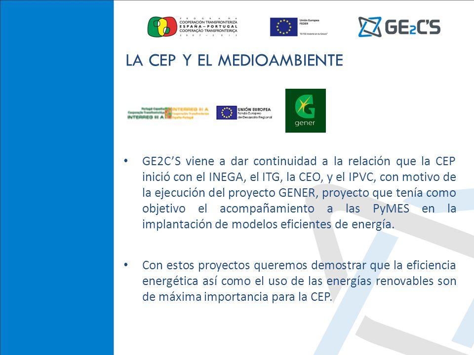 GE2CS viene a dar continuidad a la relación que la CEP inició con el INEGA, el ITG, la CEO, y el IPVC, con motivo de la ejecución del proyecto GENER, proyecto que tenía como objetivo el acompañamiento a las PyMES en la implantación de modelos eficientes de energía.