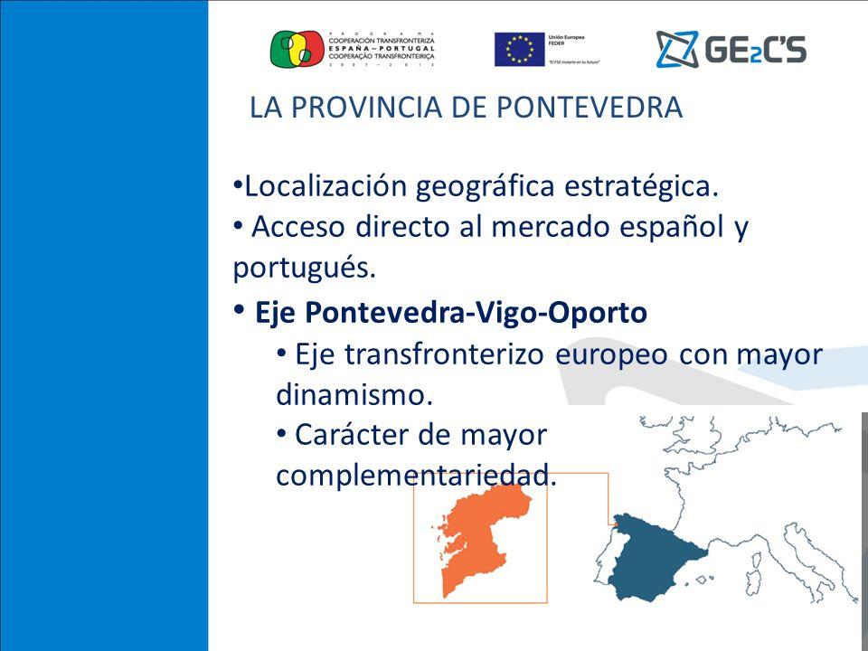 Localización geográfica estratégica. Acceso directo al mercado español y portugués. Eje Pontevedra-Vigo-Oporto Eje transfronterizo europeo con mayor d