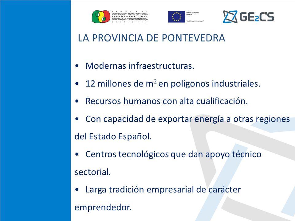 Modernas infraestructuras. 12 millones de m 2 en polígonos industriales. Recursos humanos con alta cualificación. Con capacidad de exportar energía a
