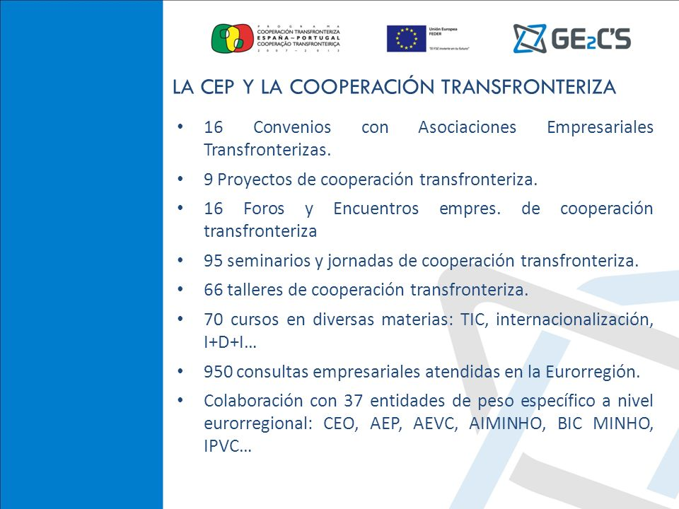 CONFEDERACIÓN DE EMPRESARIOS DE TEVEDRA 16 Convenios con Asociaciones Empresariales Transfronterizas. 9 Proyectos de cooperación transfronteriza. 16 F