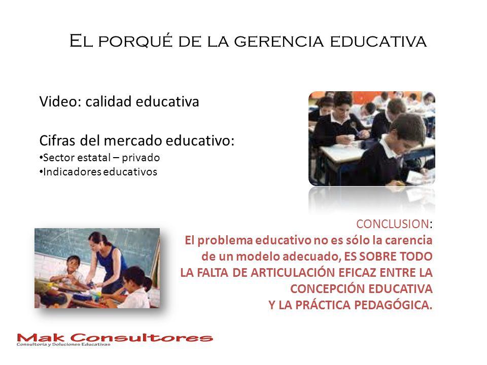 El porqué de la gerencia educativa CONCLUSION: El problema educativo no es sólo la carencia de un modelo adecuado, ES SOBRE TODO LA FALTA DE ARTICULAC