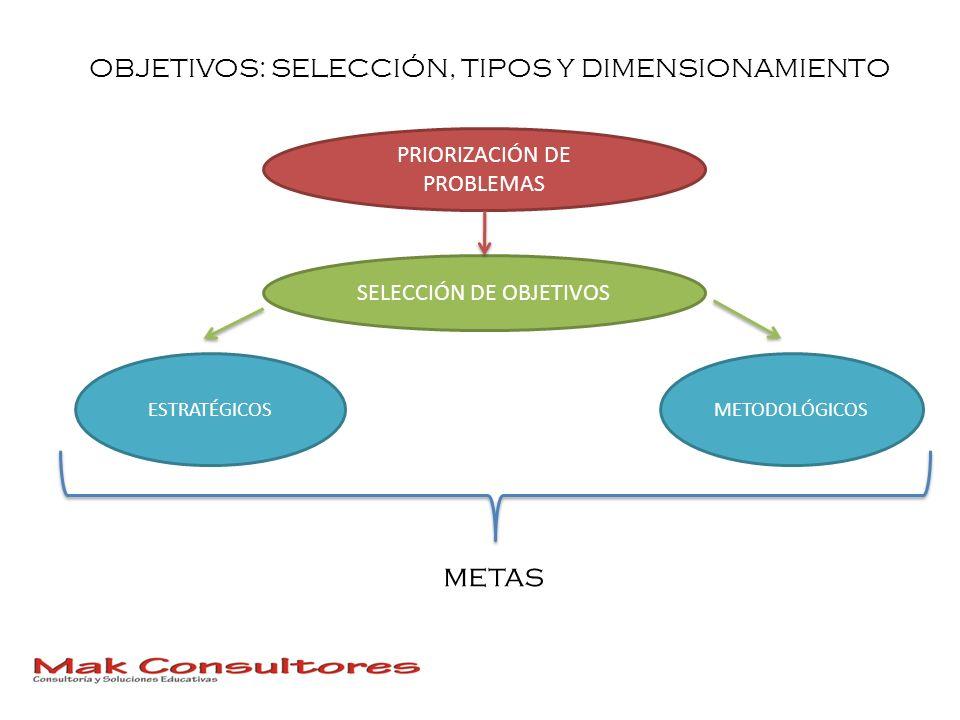 OBJETIVOS: SELECCIÓN, TIPOS Y DIMENSIONAMIENTO PRIORIZACIÓN DE PROBLEMAS SELECCIÓN DE OBJETIVOS ESTRATÉGICOSMETODOLÓGICOS metas
