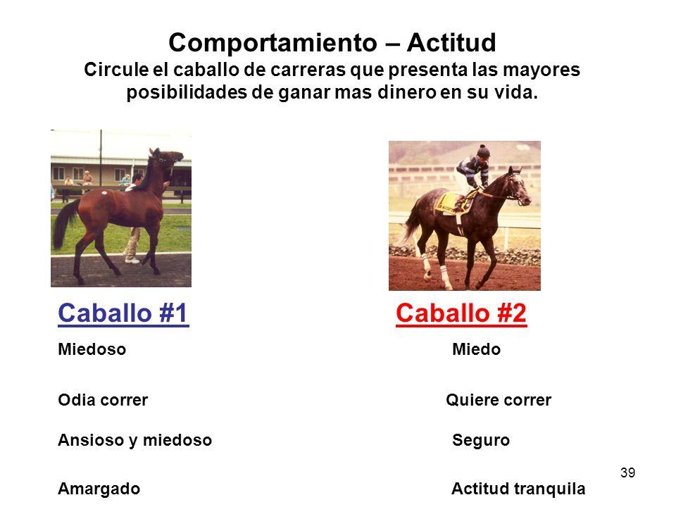 39 Comportamiento – Actitud Circule el caballo de carreras que presenta las mayores posibilidades de ganar mas dinero en su vida. Caballo #1Caballo #2
