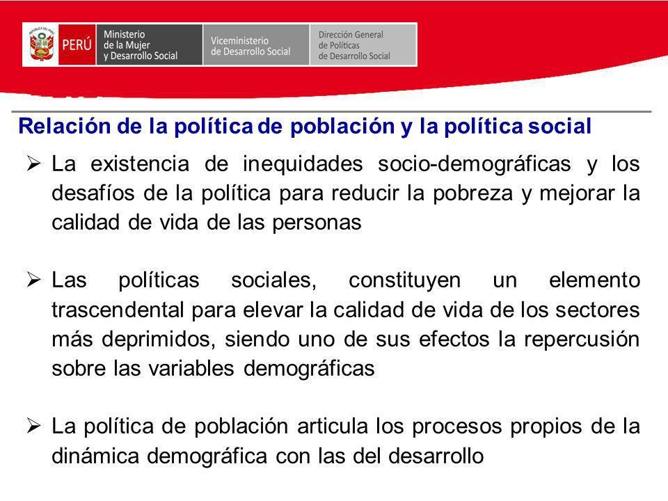 Relación de la política de población y la política social La existencia de inequidades socio-demográficas y los desafíos de la política para reducir l