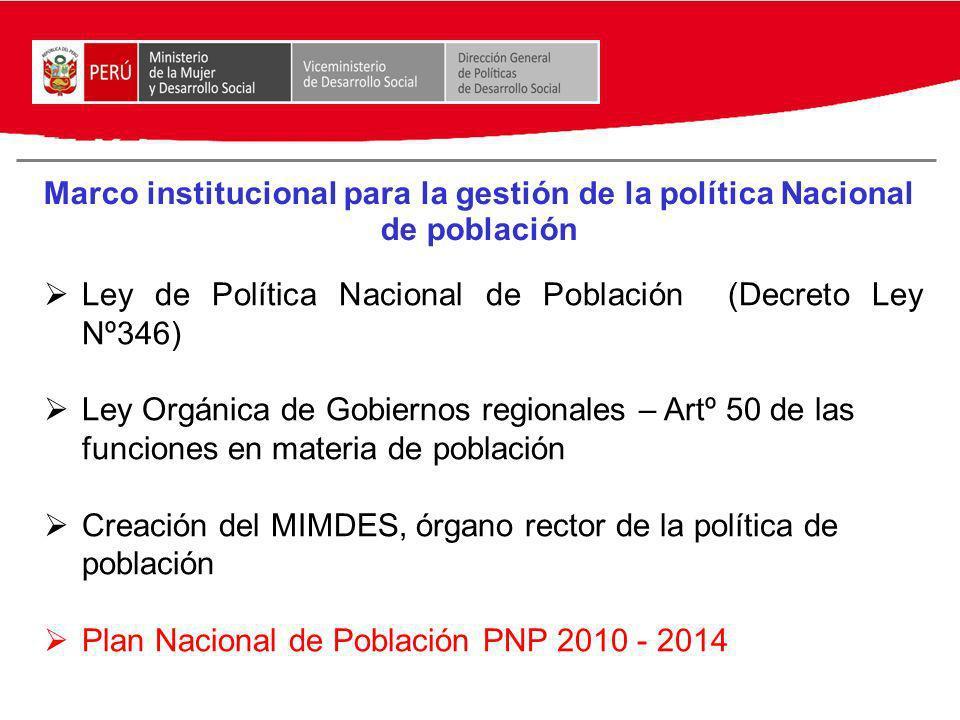 Marco institucional para la gestión de la política Nacional de población Ley de Política Nacional de Población (Decreto Ley Nº346) Ley Orgánica de Gob