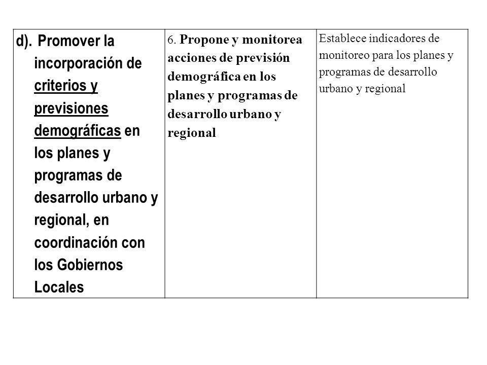 d). Promover la incorporación de criterios y previsiones demográficas en los planes y programas de desarrollo urbano y regional, en coordinación con l