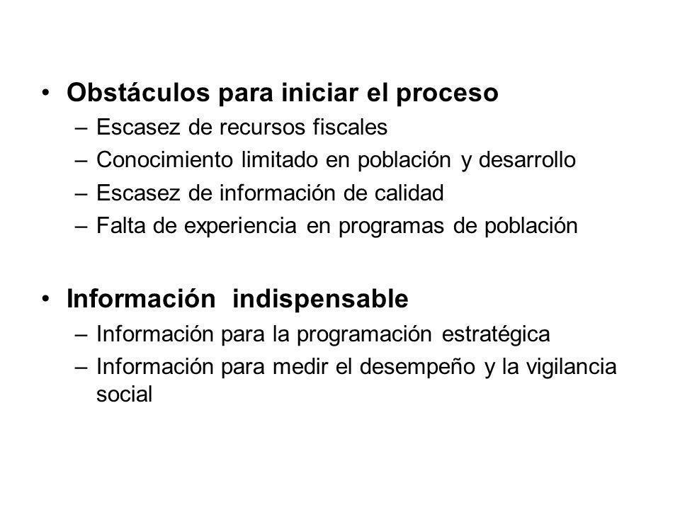 Obstáculos para iniciar el proceso –Escasez de recursos fiscales –Conocimiento limitado en población y desarrollo –Escasez de información de calidad –