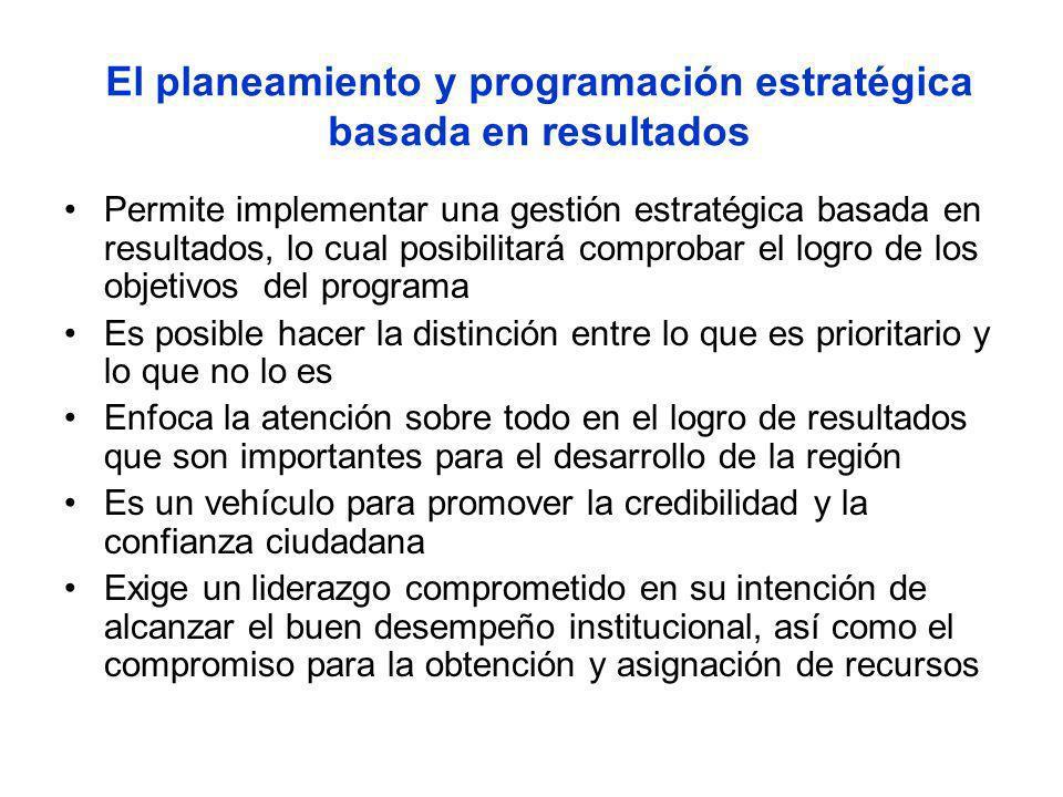 El planeamiento y programación estratégica basada en resultados Permite implementar una gestión estratégica basada en resultados, lo cual posibilitará