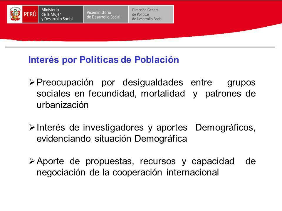 Interés por Políticas de Población Preocupación por desigualdades entre grupos sociales en fecundidad, mortalidad y patrones de urbanización Interés d