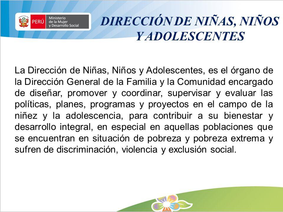DIRECCIÓN DE NIÑAS, NIÑOS Y ADOLESCENTES La Dirección de Niñas, Niños y Adolescentes, es el órgano de la Dirección General de la Familia y la Comunida