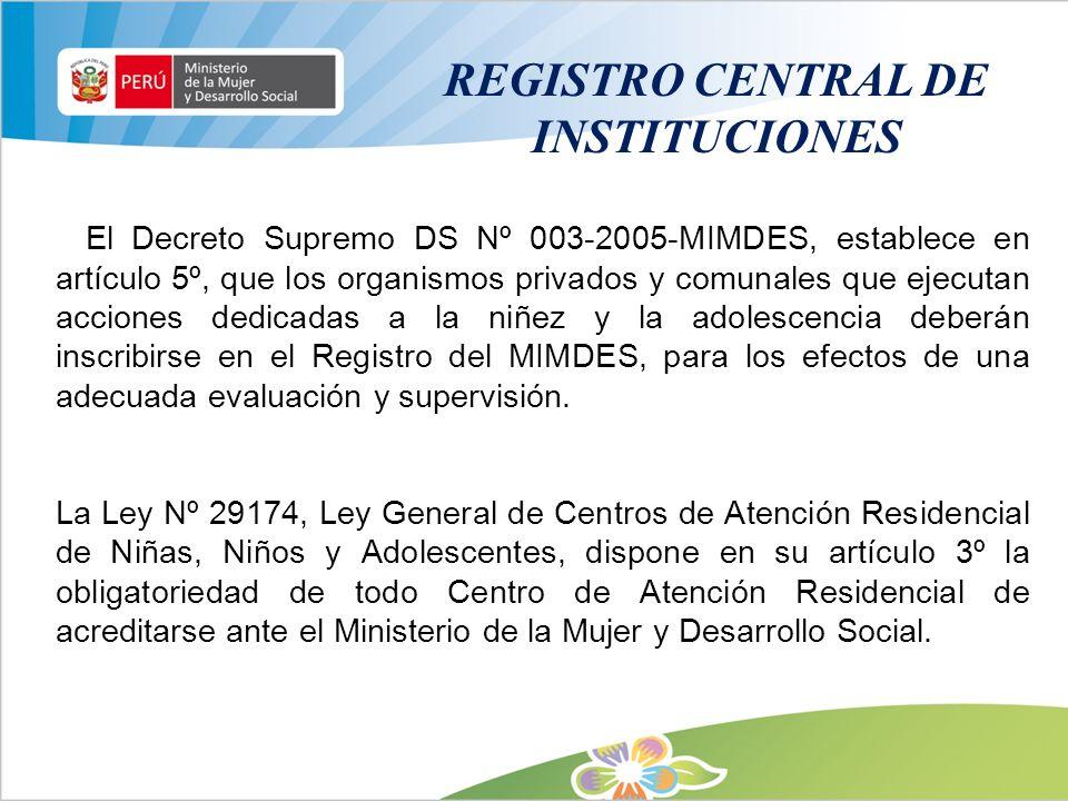 REGISTRO CENTRAL DE INSTITUCIONES El Decreto Supremo DS Nº 003-2005-MIMDES, establece en artículo 5º, que los organismos privados y comunales que ejec