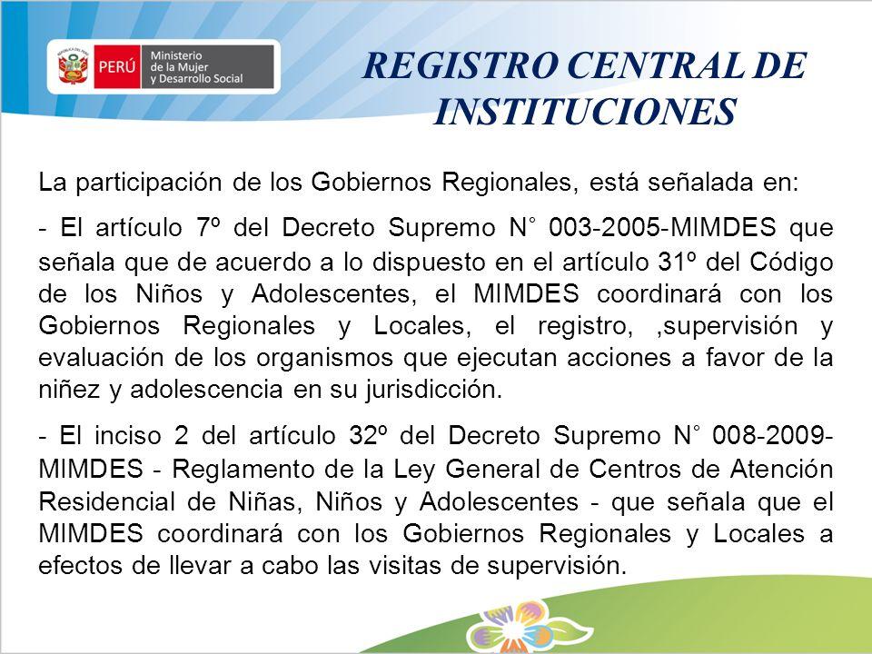 REGISTRO CENTRAL DE INSTITUCIONES La participación de los Gobiernos Regionales, está señalada en: - El artículo 7º del Decreto Supremo N° 003-2005-MIM