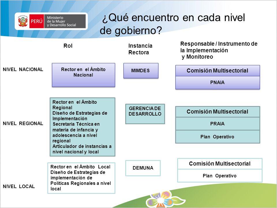 ¿Qué encuentro en cada nivel de gobierno ? NIVEL NACIONAL RolInstancia Rectora Responsable / Instrumento de la Implementación y Monitoreo NIVEL REGION