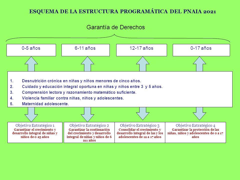 ESQUEMA DE LA ESTRUCTURA PROGRAMÁTICA DEL PNAIA 2021 0-5 años6-11 años12-17 años0-17 años Objetivo Estratégico 1 Garantizar el crecimiento y desarroll