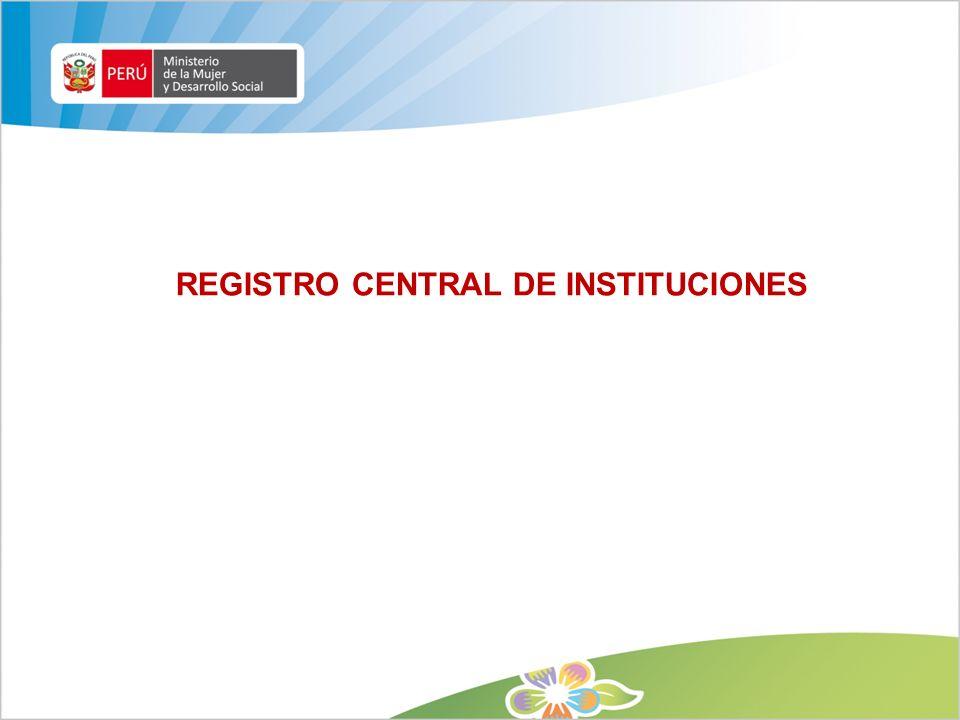 REGISTRO CENTRAL DE INSTITUCIONES